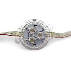 Комплект круглых LED-модулей (WS2811, оптическая линза, 3 светодиода SMD5050, 30 мм, IP67, 20 шт.)